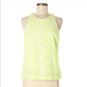 J. Crew postage stamp neon embroidered blouse
